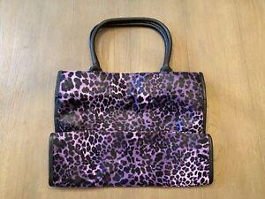 Neiman Marcus Brand Extra Large Tote Bag, purple cheetah/leopard print