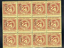 East & West Junction Railway 1899 2d red on yellow Letter Stamp mint sheet of 12