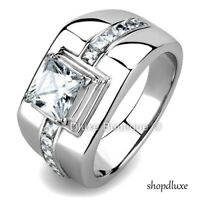Men's 4.15 Ct Princess Cut Simulated Diamond Silver Stainless Steel Ring Sz 8-13