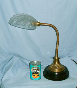 Antique - Brass  Gooseneck Lamp - With a RARE Glass Clam Shell Shade - Rewired