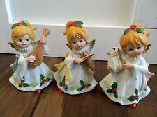 Homco Vintage Angel Christmas Figurines Trio Ceramic Music Instruments