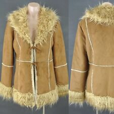 Vegan Fake fur Coat Mustard Brown M,Tie front Imitation suede W fur inside.NWT
