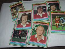 7 x MIddlesbrough   Topps Football Cards 1976  Blue  Backs