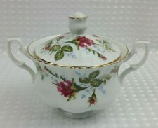 Chodziez Porcelain Moss Rose Lidded & Handled Sugar Bowl - Poland Excellent