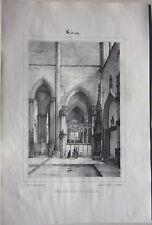 1838 SOUVIGNY CHAPELLE VIEILLE litografia André Durand Allier Desrosiers Moulins