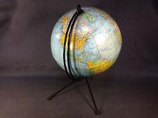 Ancienne mappemonde globe terrestre support en métal vintage design 20ème