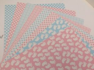 Patterned Card A4 300gsm 1-Sided Baby Feet, Gingham, Polka Dots Pink or Blue