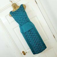Alexon Dress Size 14 Jade Aqua Green Satin Lace Peplum Dress Wedding Party Races