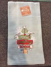 NWT Merry Christmas Seaside Embroidered Waffle Kitche/Bar Towel Coastal Decor