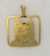 Amstaff Terrier Pit Bull Jewelry Gold Face Pendant by Touchstone Dog Designs