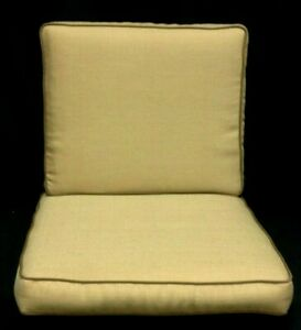 2 pc Frontgate Sorrento Dining Chair Box cushions pads outdoor 21x22 SESAME Gold
