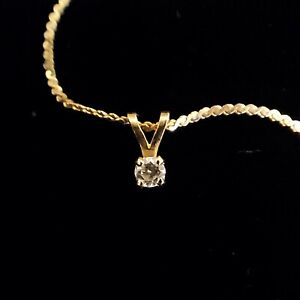 Tiffany & Co. Diamond Solitaire Pendant 14k Yellow Gold Setting and Chain