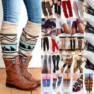 Womens Ladies Warm Leg Knee High Crochet Cable Soft Knit Socks Boot Stockings
