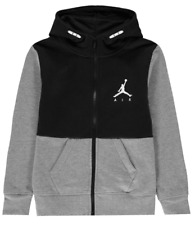 AIR JORDAN Boys Black & Grey Full Zip Hooded Sweater Hoodie Top 11-12 Years BNWT