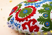 "16"" INDIAN SUZANI ROUND EMBROIDERED FLOOR PILLOW CUSHION THROW Cover Seating"