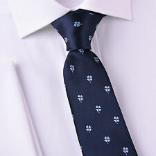 "Blue Floral Four Leaf Clover 3"" Tie Mens Luxury Fashion Business From B2B Shirts"