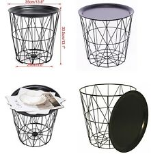 Black Metal Geometric Wire Side/storage Table With Wood Effect Detachable Top