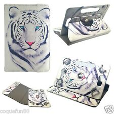 Housse Etui Tablette Acer Iconia One 7 - Rotative 360 ° - Motif Tigre Blanc