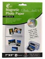 "Magnetic Photo Paper Gloss Use Inkjet Printer Great Family Photo 7""x5"" 3 Sheets"