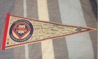 "1993 Champs PHILADELPHIA PHILLIES Facsimilie Autographs 30"" Pennant WORLD SERIES"