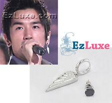 Korean Shinhwa Lee Min Woo angel Wing & Black Stud Asymmetric Earrings