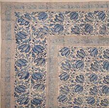 Handmade Cotton Vegetable Dye Block Print Tapestry Bedspread Tablecloth F/Q Blue