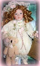 "*New* Seymour Mann Doll 12"" Sophia With Teddy Bear Retired Great Christmas Gift!"