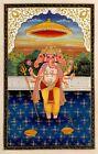 Lord Ganesha Has Three Faces In Painting Gouache Miniature Art Hindu Religion