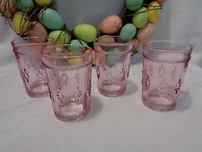 VINTAGE Inspired PINK Easter FLORAL Knobby Water JUICE Drinking Glasses set 4