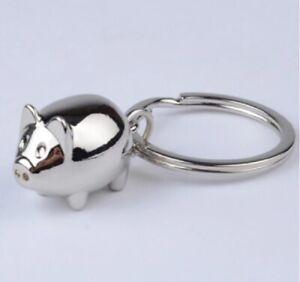 Solid Metal Silver Chrome Pig Keyring Keychain UK Stock & Seller