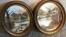 Homco Home Interior 2 Picture Gold Oval Frame House Lake Water Vintage F. Massa