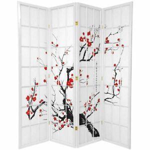 Cherry Blossom Room Divider Screen White 4 Panel