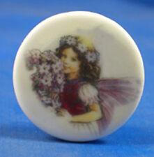 """1"""" Porcelain China Button - Violet Fairy"""