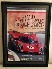 RARE ORIGINAL FERRARI 2004 31st ROLEX MONTEREY HISTORIC RACES POSTER - FRAMED