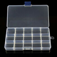 10/15/24 Slots Adjustable Jewelry Storage Box Case Beads Organizer CLEAR  Boxes