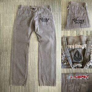 VOLCOM Men's Grey Jeans Size: W36 L32 Embroidered VERY GOOD Condition