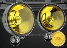 "2 x ROUND 6.5"" YELLOW TRUCK OFF ROAD SUPER 4X4 WORK FOG LIGHTS+WIRING+SWITCH"