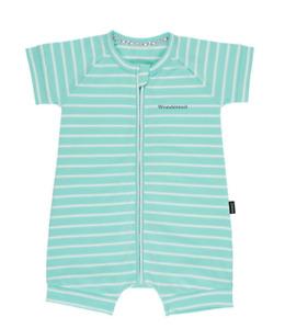 BONDS BABY 12-18 MONTHS JASMINE MINT STRIPE S/S ZIP WONDERSUIT ROMPER, BNWT