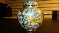 Vintage/Antique? Chinese Cloisonne Floral Enameled Jar w Lid and Jar