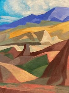 Santa Fe Southwest Cubist Landscape Art Oil Painting Modern Desert landscape