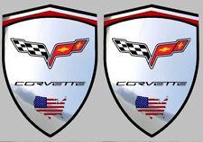 2 adhésifs sticker chrome CORVETTE C6  (idéal ailes avant)