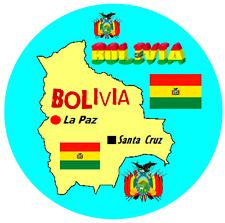 BOLIVIA, SOUTH AMERICA - MAP / FLAG - ROUND SOUVENIR FRIDGE MAGNET - NEW - GIFTS
