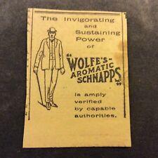 Advertisement - Wolfe's Aromatic Schnapps - Australia - 1910