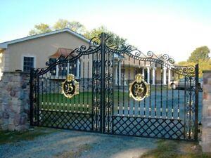 wrought iron gates and railing