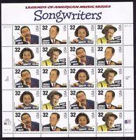 1999 32¢ Songwriters Sheet of 20 Stamps Scott 3103a Mint NH - Stuart Katz