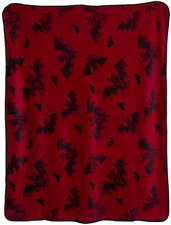Sourpuss Bat Attack Blanket NEW Goth Punk Batty Halloween Horror Ghoul Maroon