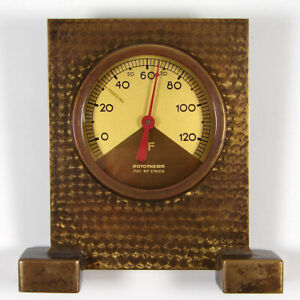 ROTOTHERM vintage Art Deco solid brass thermometer with perlage decoration 1930s