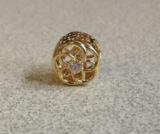 NWOT Pandora Loving Bloom Charm Retired 14K Gold Cubic Zirconia CZ 750598CZ