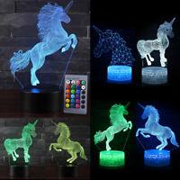 3D Unicorn LED Night Light Color Change Table Desk Lamp Decor Kids Xmas Gifts