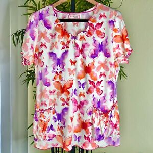 KOI WOMENS XL LIGHTWEIGHT WATERCOLOR BUTTERFLY AFFIMATIONS SCRUB TOP